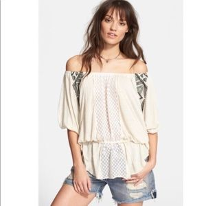 Free People New World Off shoulder tunic top M